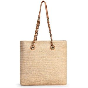 NWOT Talbots heathered straw tote leather strap